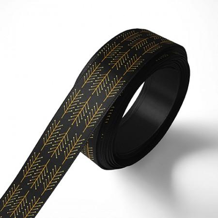 Панделка за подаръци - Клонки, черна, златен печат