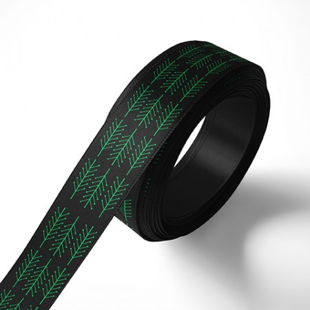 Панделка за подаръци - Клонки, черна, зелен печат