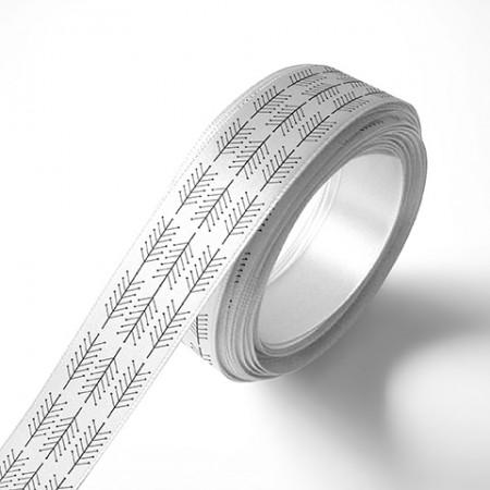 Панделка за подаръци - Клонки, бяла, черен печат