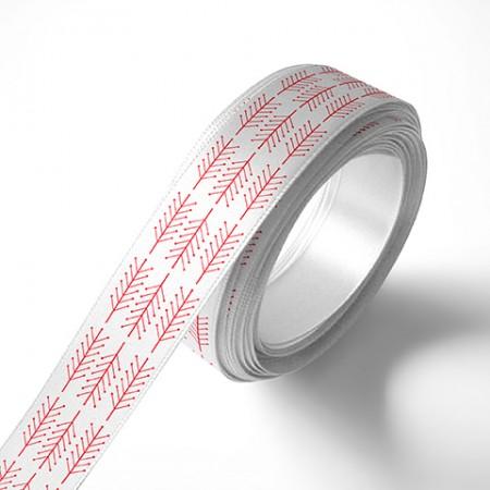 Панделка за подаръци - Клонки, бяла, червен печат