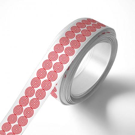 Панделка за подаръци - Кръгчета, бяла, червен печат