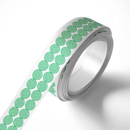 Панделка за подаръци - Кръгчета, бяла, зелен печат