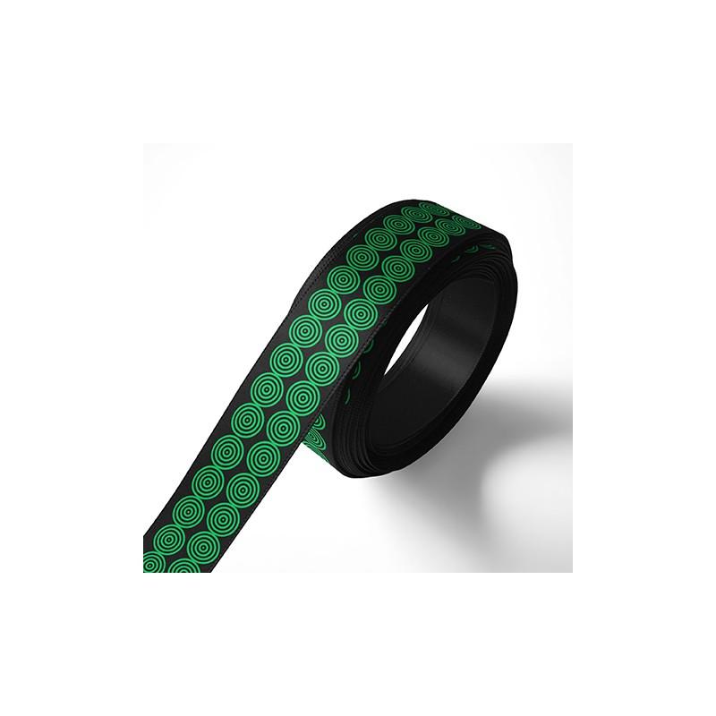 Панделка за подаръци - Кръгчета, черна, зелен печат