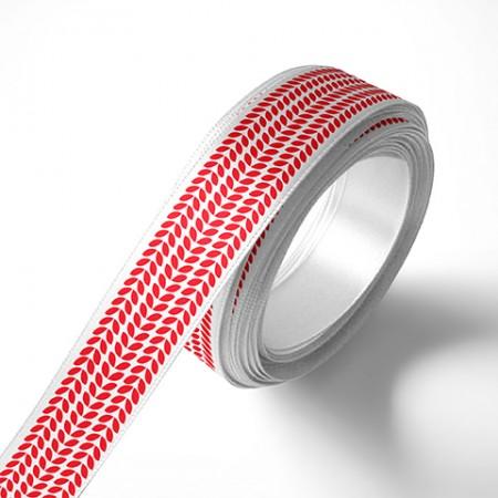 Панделка за подаръци - Листа, бяла, червен печат