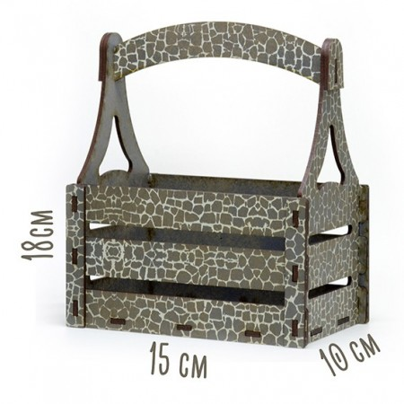 Дървена кашпа - Сив камък - тип кошница