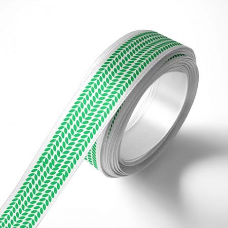 Панделка за подаръци - Листа, бяла, зелен печат