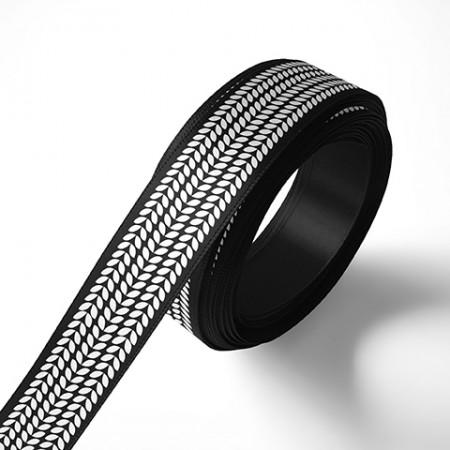 Панделка за подаръци - Листа, черна, бял печат