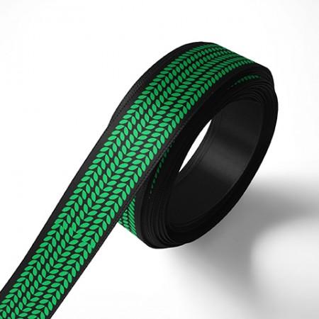 Панделка за подаръци - Листа, черна, зелен печат