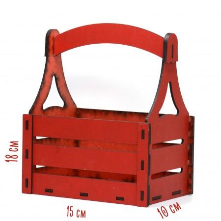 Дървена кашпа - червена - тип кошница