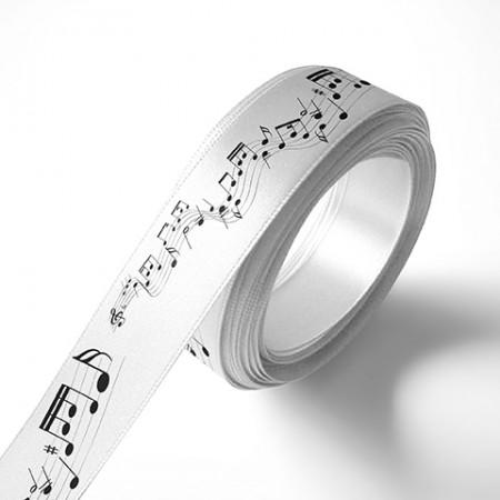Панделка за подаръци - Ноти - бяла, черен печат