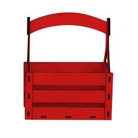 Дървена кашпа - червена - тип кошница - изглед отпред