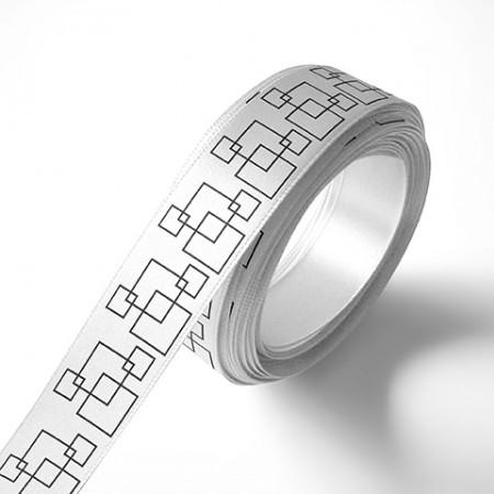 Панделка за подаръци - Орнаменти - бяла, черен печат