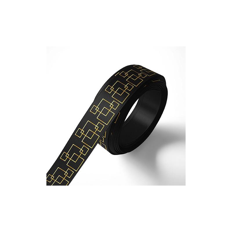 Панделка за подаръци - Орнаменти - черна, златен печат