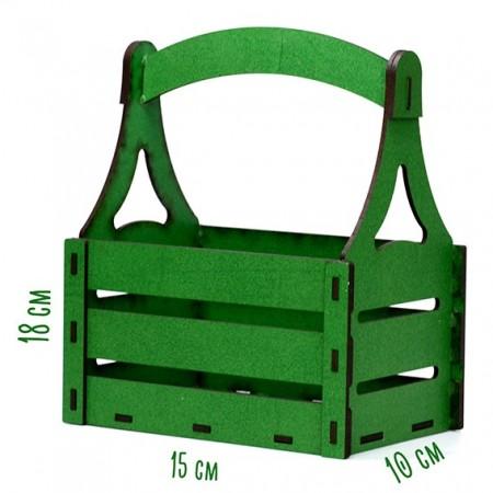 Дървена кашпа - зелена - тип кошница