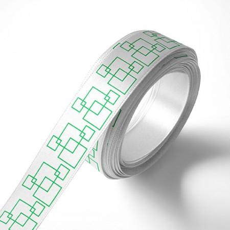 Панделка за подаръци - Орнаменти - бяла, зелен печат