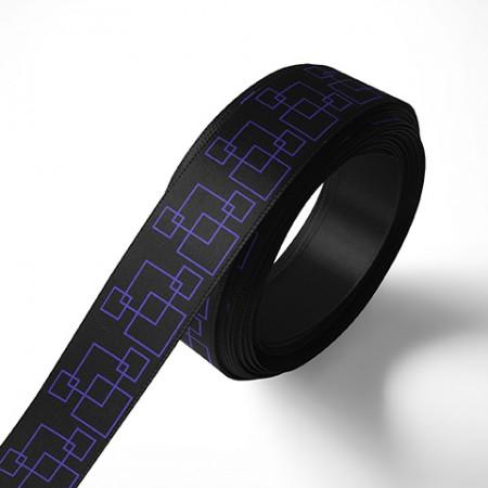 Панделка за подаръци - Орнаменти - черна, син печат