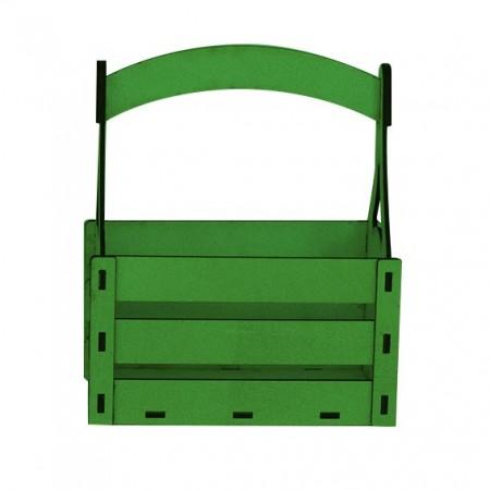 Дървена кашпа - зелена - тип кошница - изглед отпред