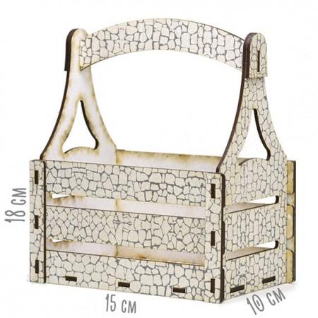 Дървена кашпа - Бял камък - тип кошница