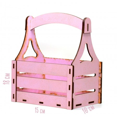 Дървена кашпа - розова - тип кошница