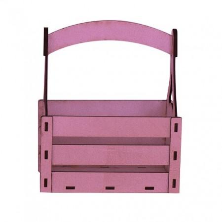 Дървена кашпа - розова - тип кошница - изглед отпред