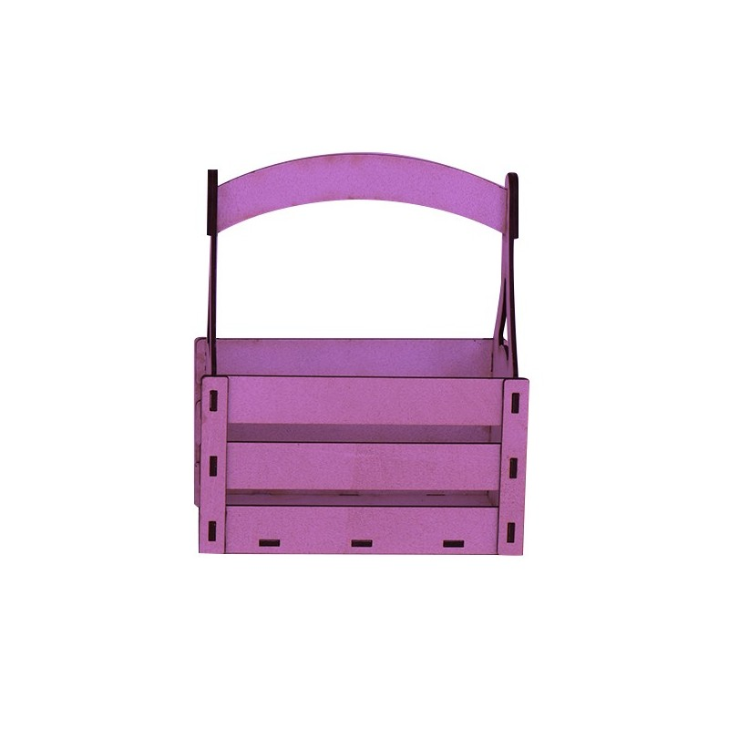 Дървена кашпа - лилава - тип кошница