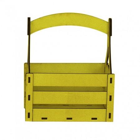 Дървена кашпа - жълта - тип кошница