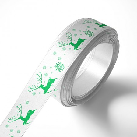 Панделка Коледни елени и снежинки, бяла, зелен печат