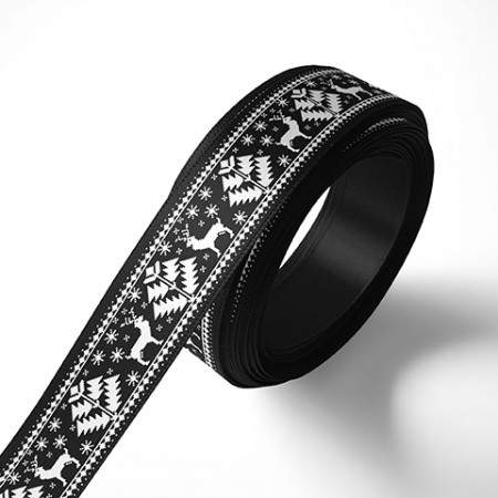 Панделка с коледни мотиви, черна, бял печат