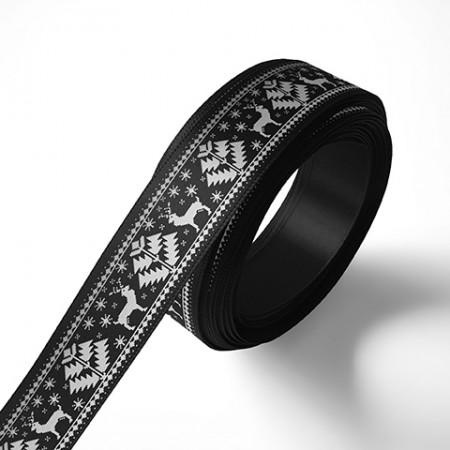 Панделка с коледни мотиви, черна, сребърен печат
