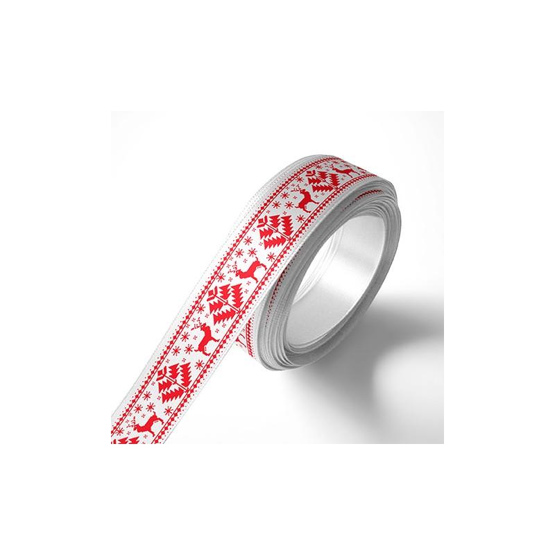 Панделка с коледни мотиви, бяла, червен печат