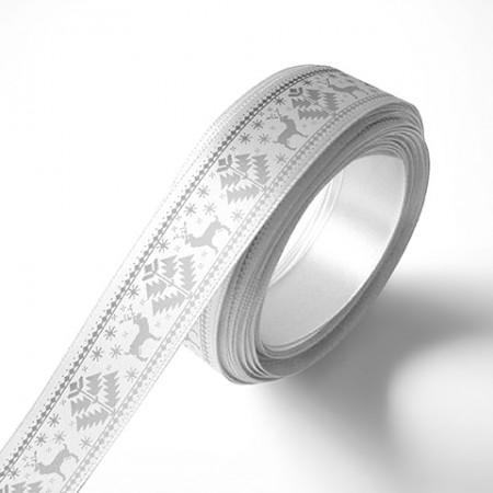 Панделка с коледни мотиви, бяла, сребърен печат