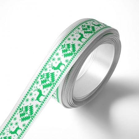 Панделка с коледни мотиви, бяла, зелен печат