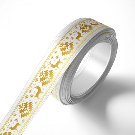Панделка с коледни мотиви, бяла, златен печат