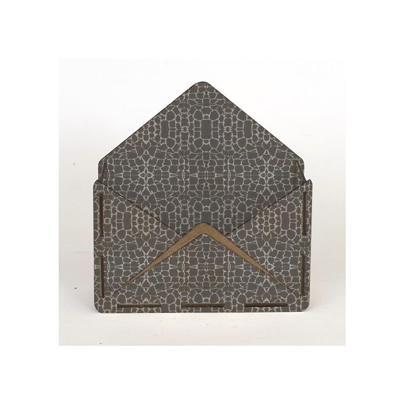 Дървена кашпа - тип плик - сив камък