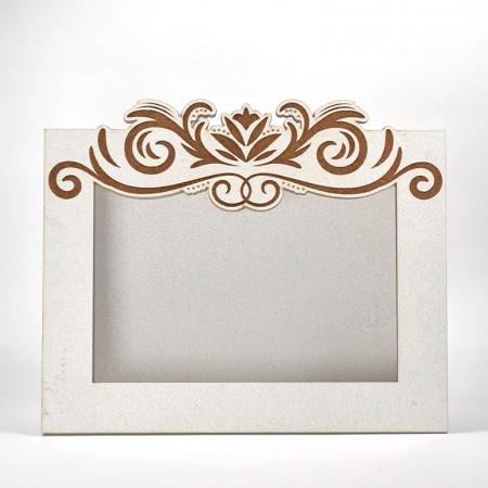 Дървена кашпа - рамка - бяла 2