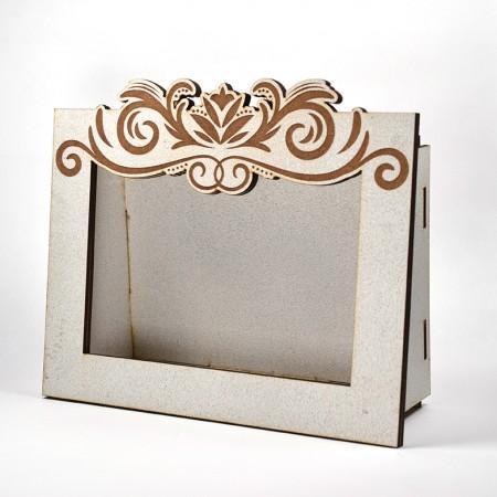 Дървена кашпа - рамка - бяла 3