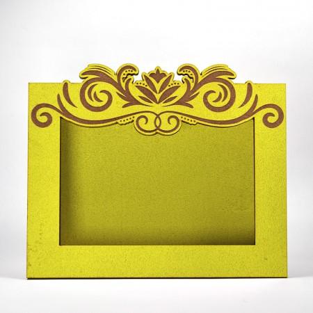 Дървена кашпа - рамка - жълта