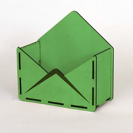 Дървена кашпа - тип плик - зелен