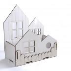 Дървена кашпа: Къща - бяла