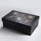 Луксозна Ажурна Кутия в черен цвят - картон и дърво