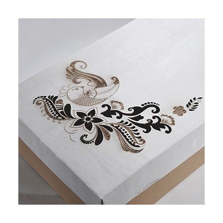 Луксозна кутия от велпапе с дизайн на цветя и отделен капак