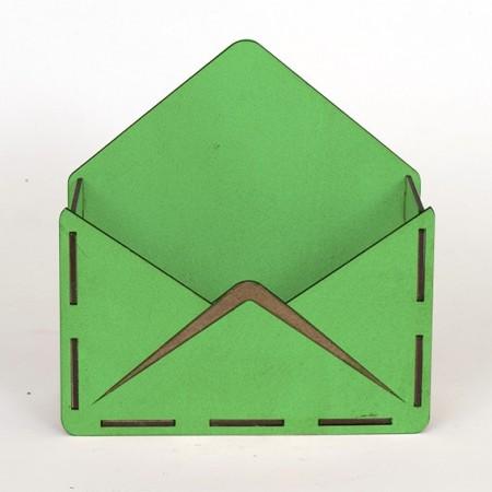 Дървена кашпа - тип плик - зелен - отпред