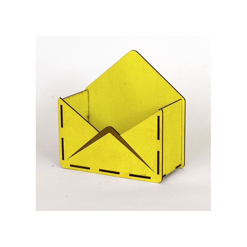 Дървена кашпа - тип плик - жълт