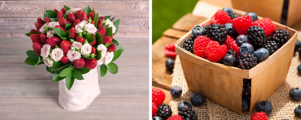 Сватбен букет от горски плодове - ягоди