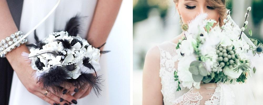 Сватбен букет с пера